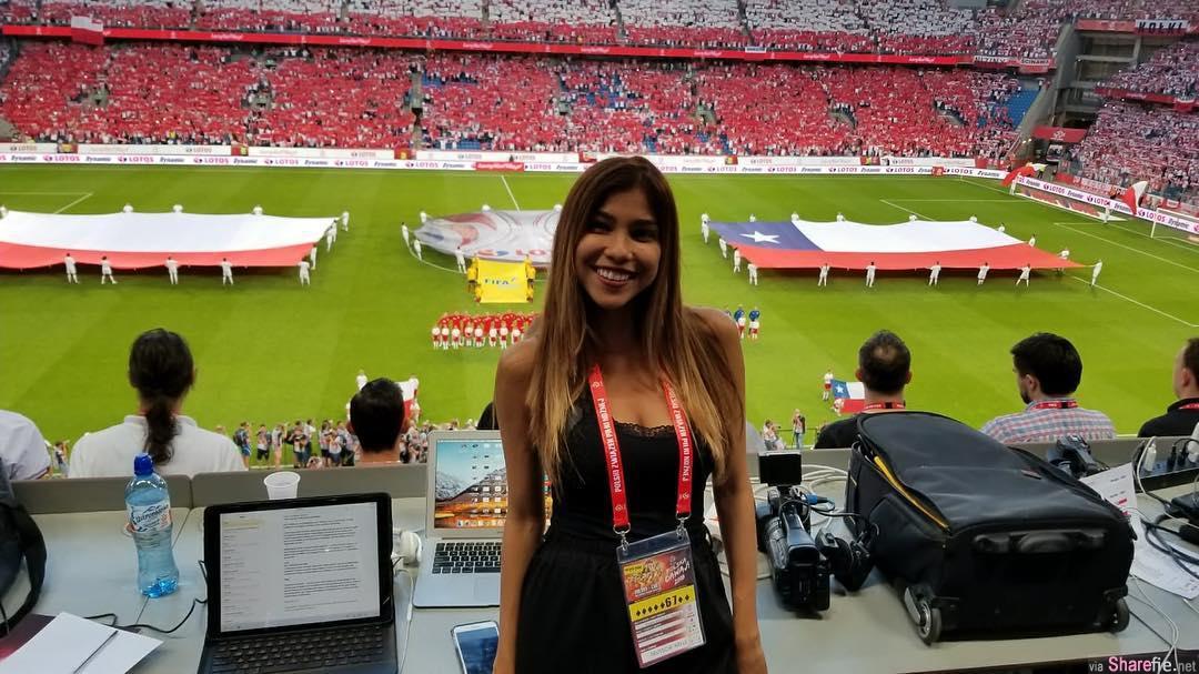 女记者现场连线播报俄罗斯世界杯,下一秒遭男球迷强吻袭胸