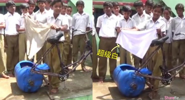 印度小男孩发明不插电洗衣机,脏布丢进去,出来白到发亮