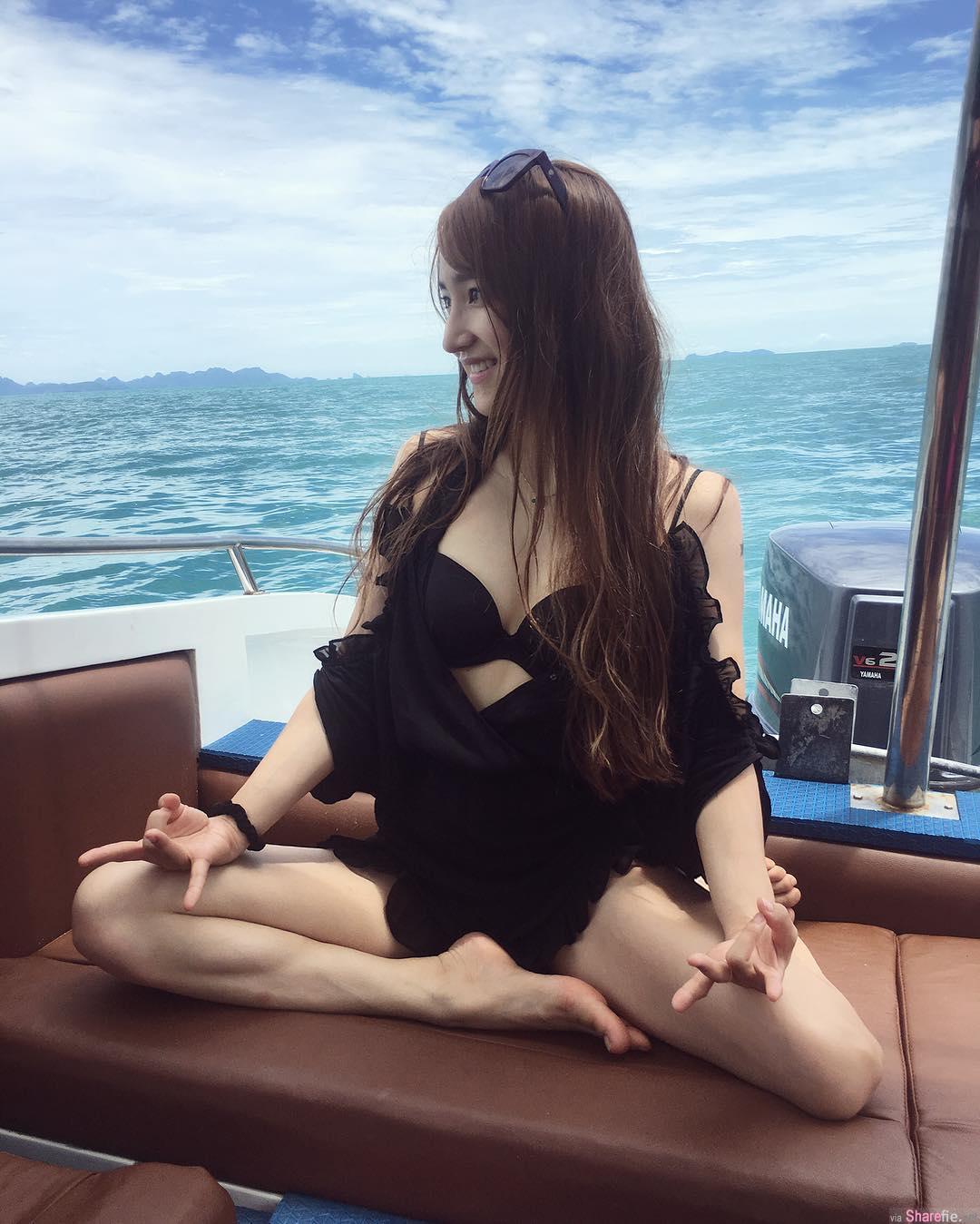 正妹Tancy Wang出海钓鱼穿比基尼静坐,网友只看见白皙好身材