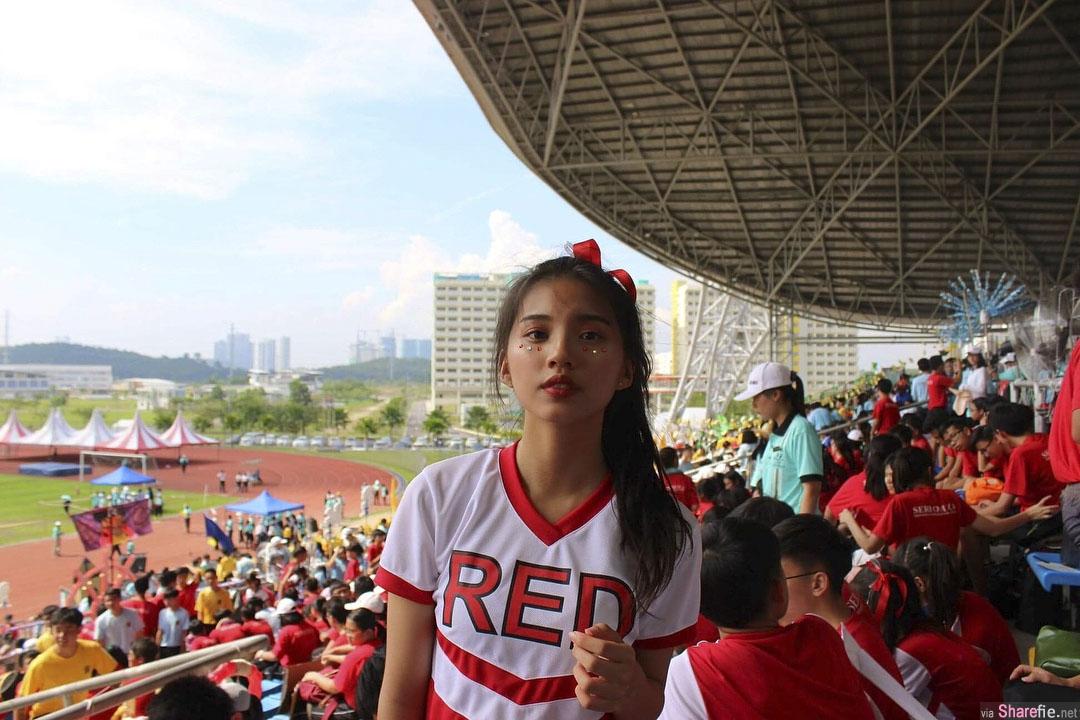 大马正妹Cheryl Leong,长髮气质满分,啦啦队造型也太可爱