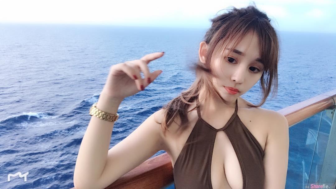正妹Irene Huang邮轮度假,泳装开大洞逼死游客