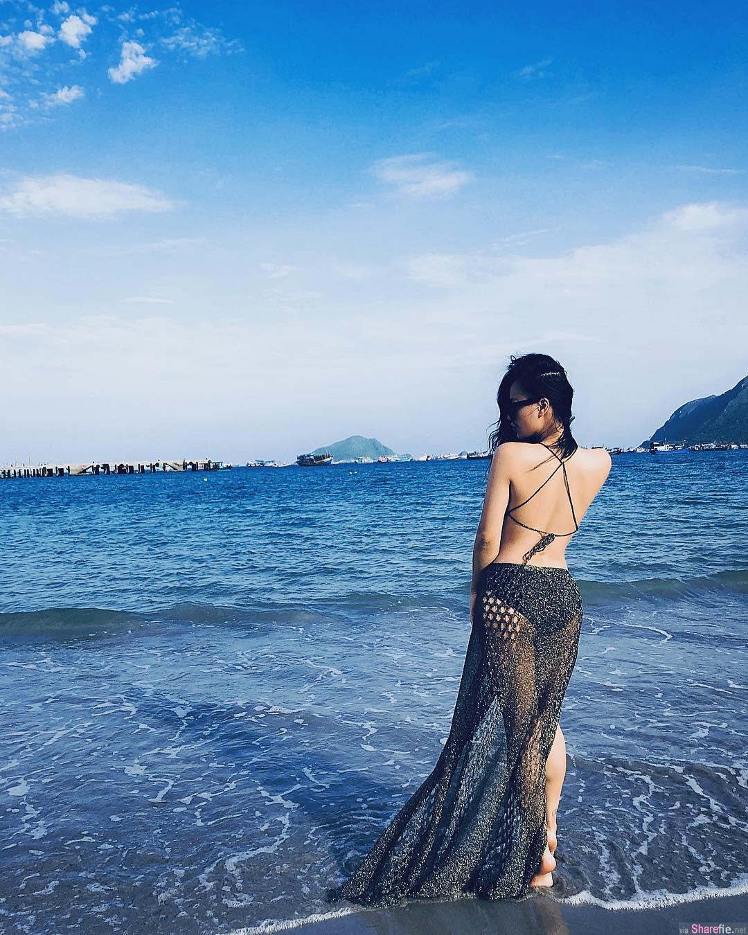 越南女DJ,沙滩裸拍椰子奶