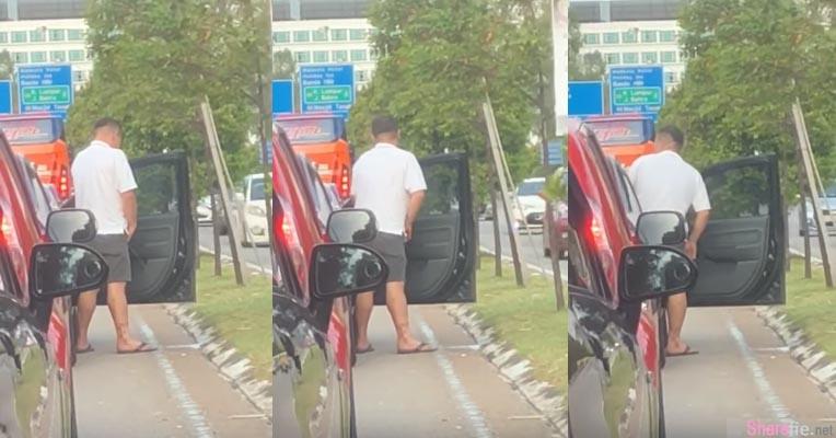 小便哥尿太急,红绿灯前等不及,然后就下车小便了,网友:右后车门忘记开!