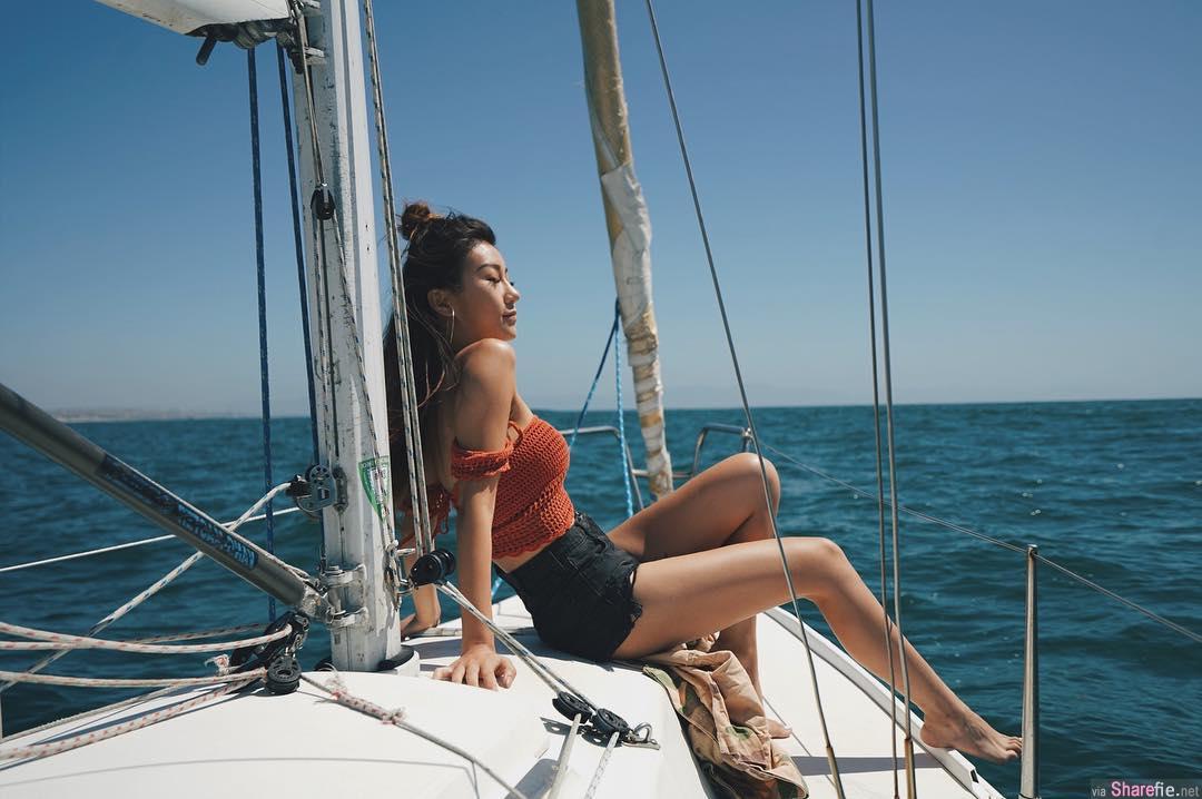 正妹Cindy He阳光小麦肌,紧身运动裤让浑圆翘臀完美呈现