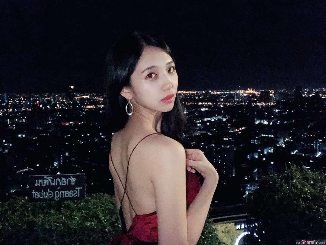 正妹何蓁在饭店高空酒吧拍夜景,越深越美丽