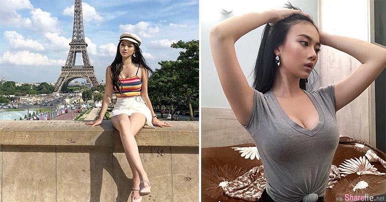 正妹Michelle Lo,与巴黎铁塔合拍最美风景