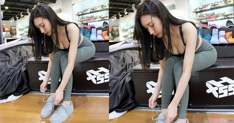 鞋店发现紧身正妹在试鞋,一弯腰网友全硬了