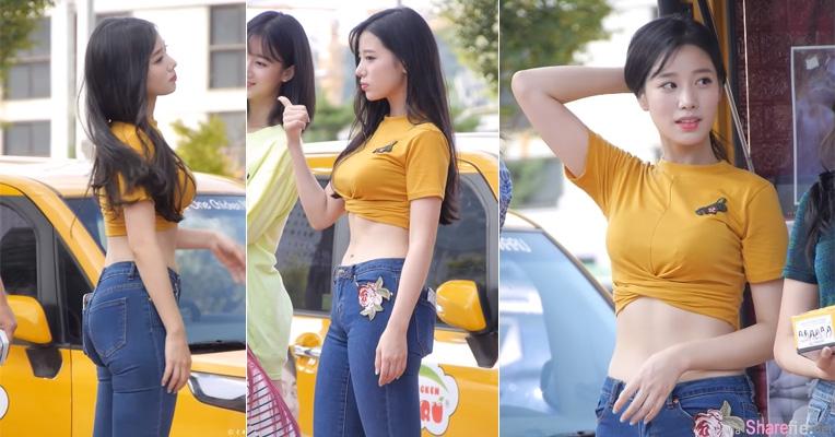 街拍韩国正妹,性感露脐狂吸7百万点击