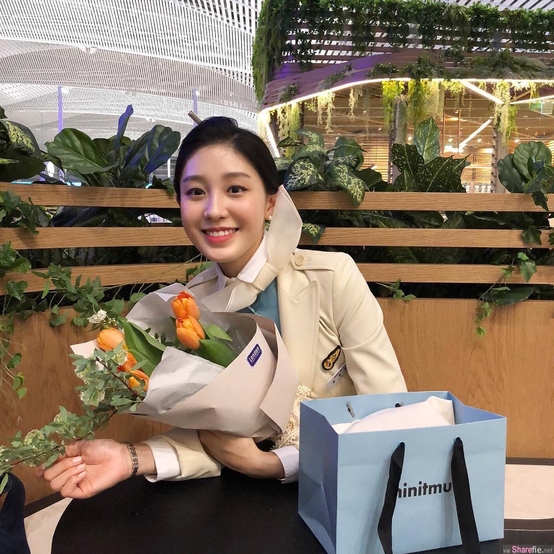 韩国正妹空姐,甜到不想下飞机