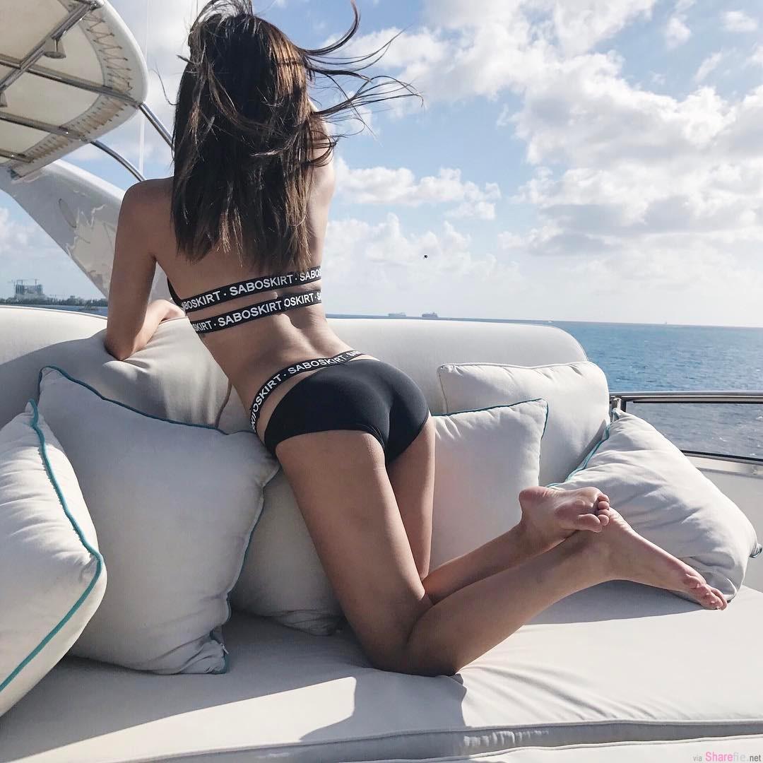 甜美正妹Grace乘游艇出海,性感比基尼诱人身材完全炸开