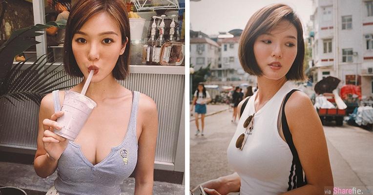 短髮正妹Karen背心诱惑,街上路人回头率很高