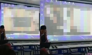 老师上课误放A片30秒,学生暴动老师冲上讲台关影片