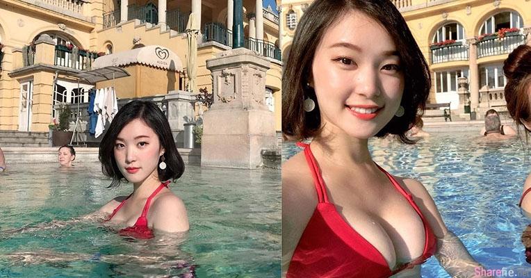 长荣空姐Kira宫廷浴场泡温泉,雪白美乳镇压全场