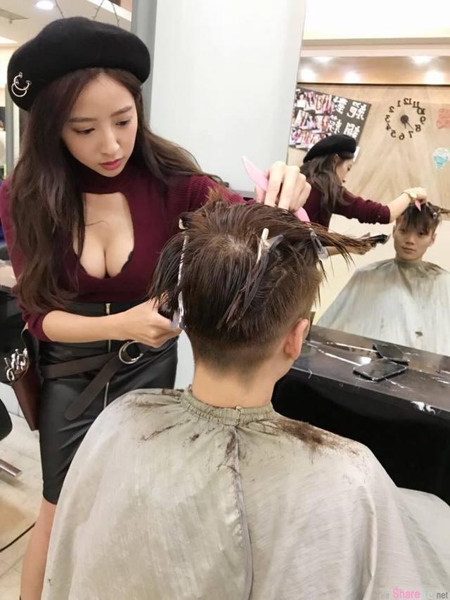 爆乳正妹理髮师,网友:突然头髮有点长