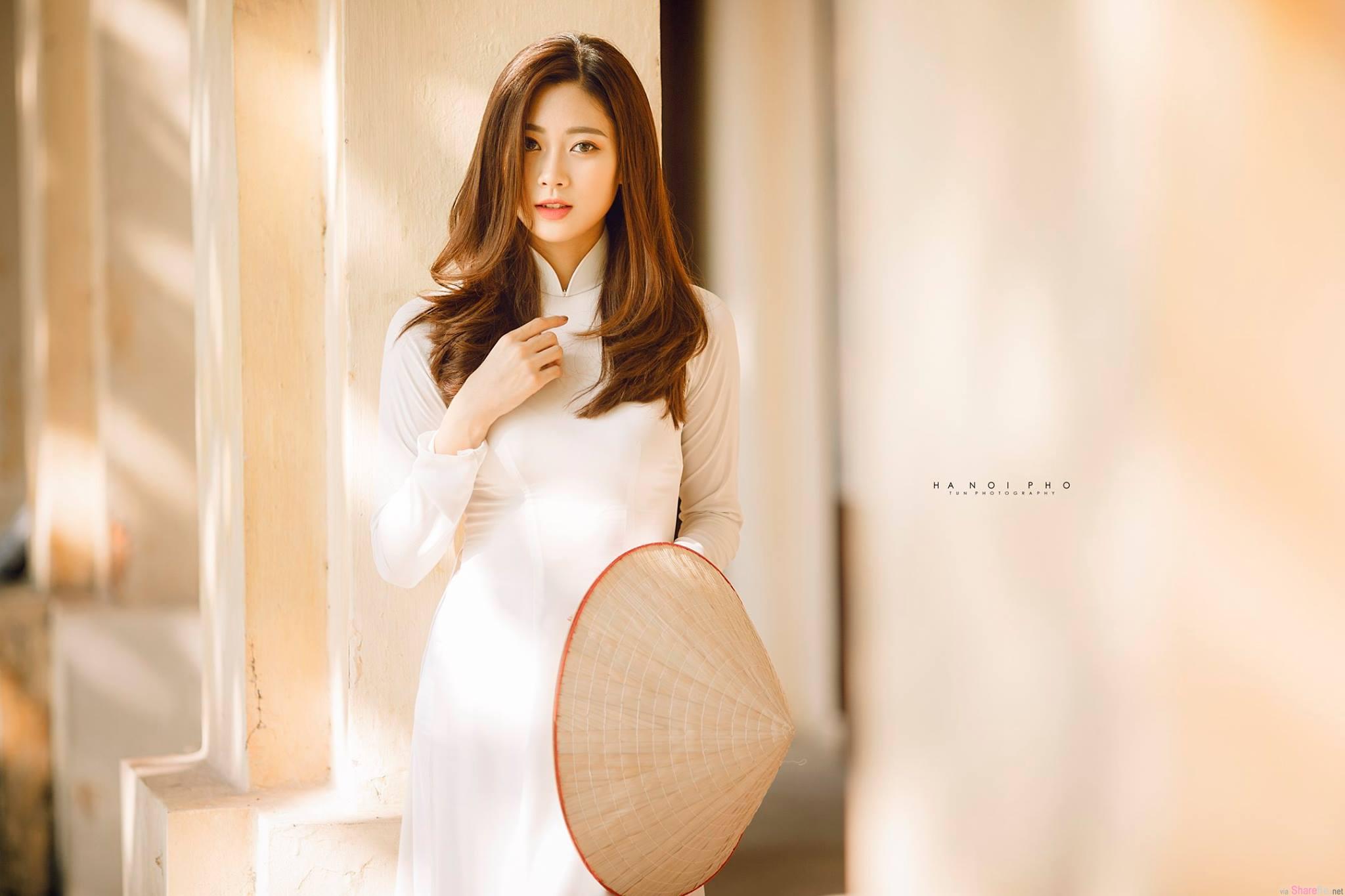 越南旗袍正妹,笑容甜美可爱的小仙女