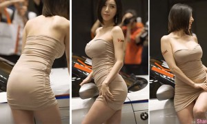 镜头一直对着超凶韩国车模勐拍,影片第2:05秒走光了