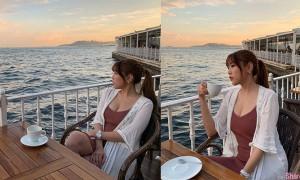 正妹Cynthia Siao海边欣赏迷人海景,事业线也很迷人