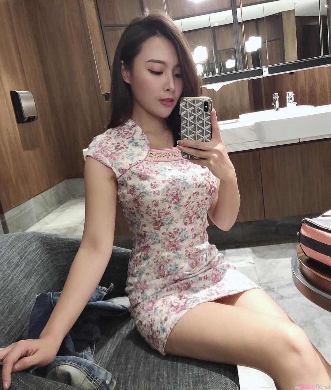 大马正妹Iko Mah,粉色系花旗袍完美衬托诱人曲线