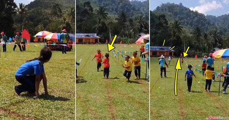 小学运动会接力赛小选手「摆乌龙」,老师追学生笑翻网友