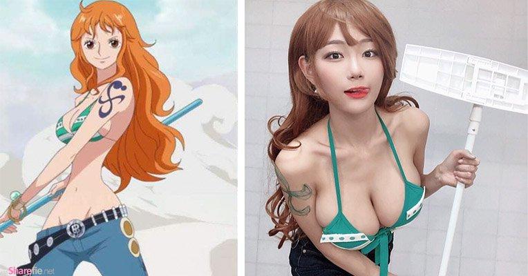 韩国正妹cosplay海贼王娜美,还原度百分百