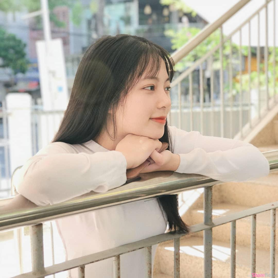 越南大学校花,天使脸孔散发仙女气质