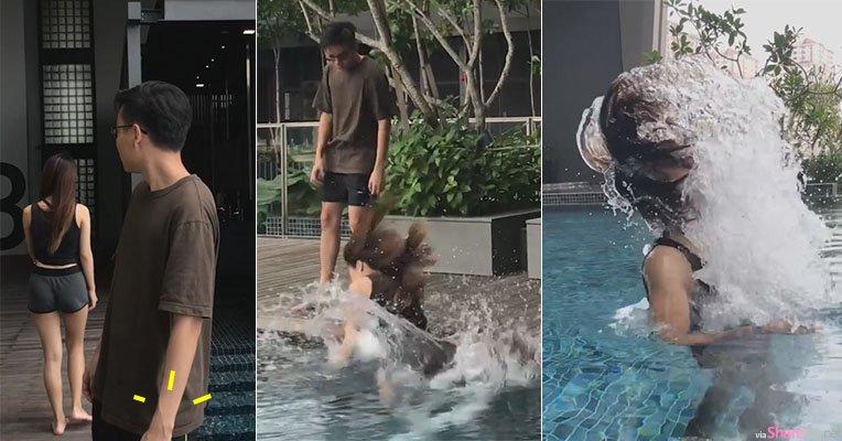 男子回头看正妹手錶掉泳池,下次他不敢了