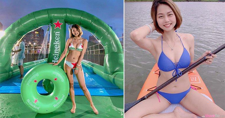长腿啤酒正妹Yuki萱萱,活动穿上海尼根比基尼展现火辣身材