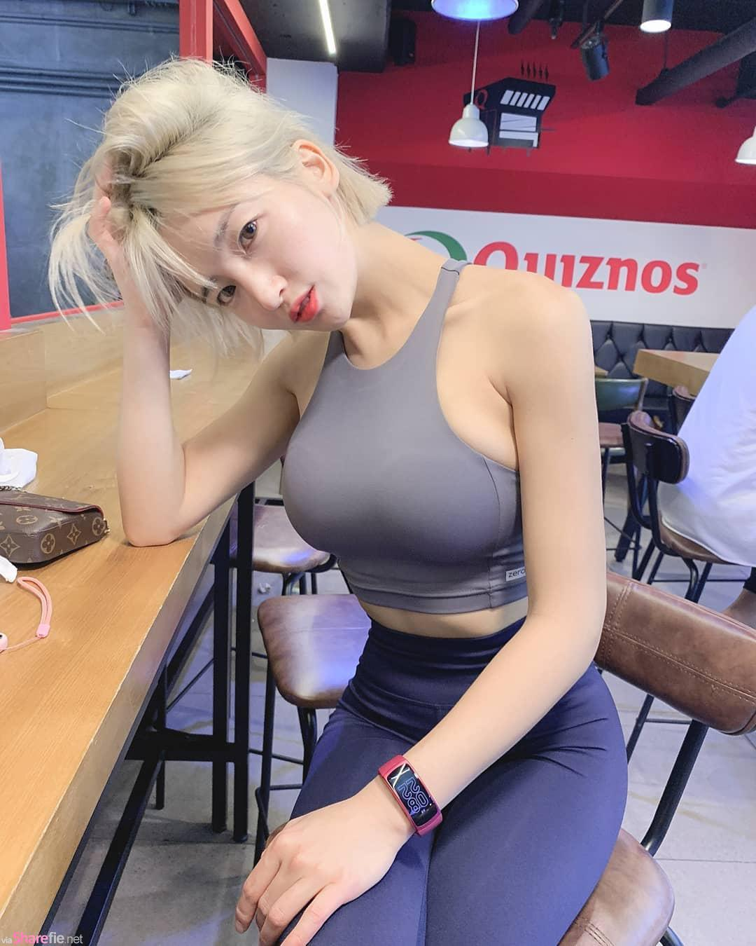 韩国健身正妹,紧身上衣超狂身材想逼死人