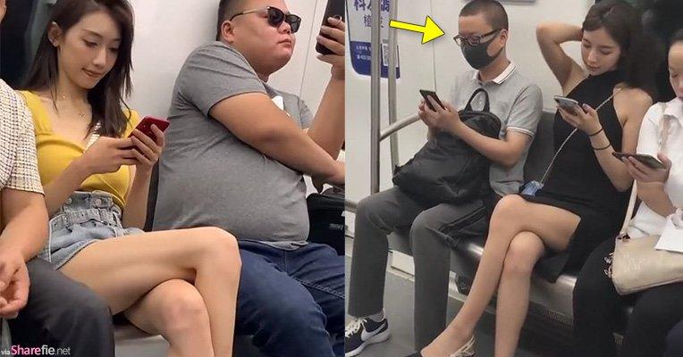 搭地铁遇到甜美长腿正妹,拿出手机偷拍结果拍到隔壁男乘客竟然这样做