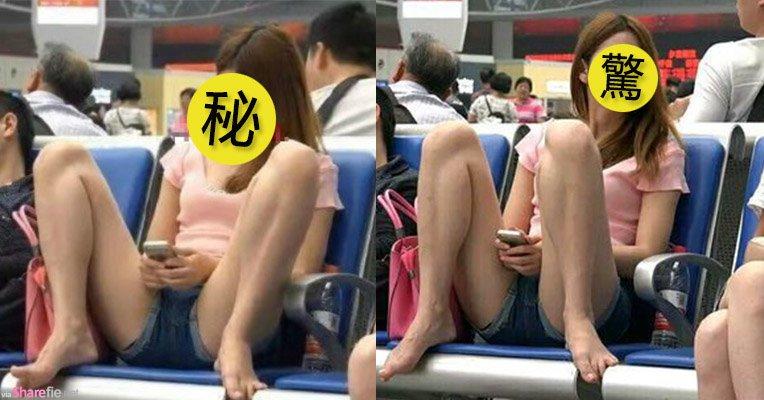 妹纸霸气坐姿双腿开,网友一看颜值:我可以