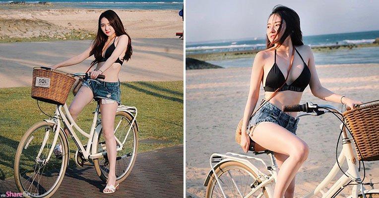 泰国靓姐farm只穿比基尼骑单车,凹凸身材配上雪白肌肤,网友也想骑