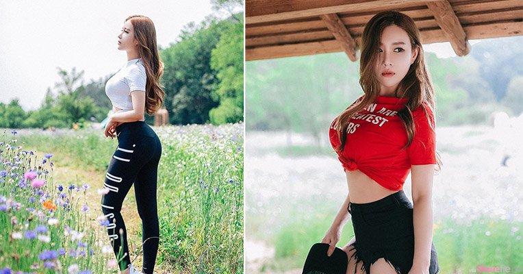 韩国正妹JinJin,花丛中的优美曲线