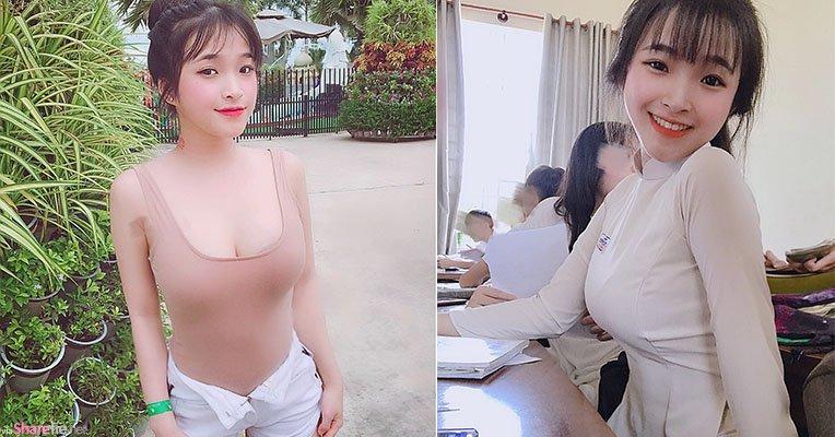 越南学生正妹,发育太好校服特别紧身