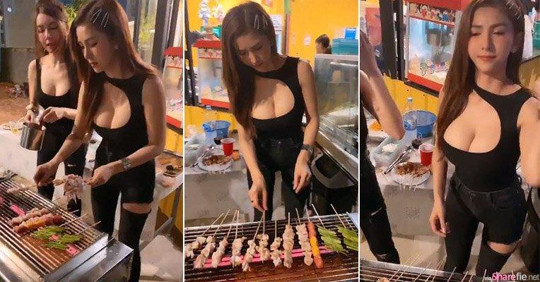 泰国正妹户外烧烤,凶勐肉球太抢镜