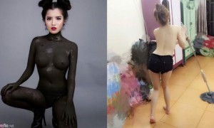 越南妹纸全裸涂黑黑,人体彩绘性感又养眼