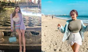 巨乳妹纸Rebecca Liu,沙滩超狂紧身衣