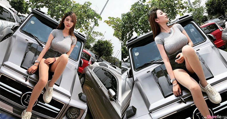 正妹坐车头拍美照,巨型车头灯闪瞎网友