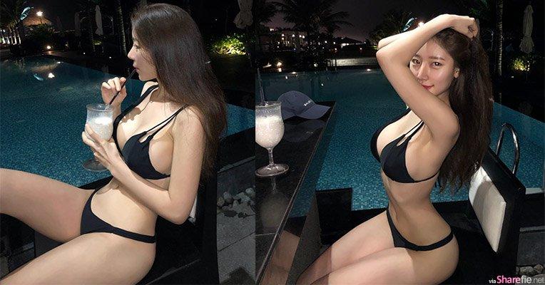 夜晚泳池边惊现比基尼正妹,饱满S曲线让冷冷的夜热起来