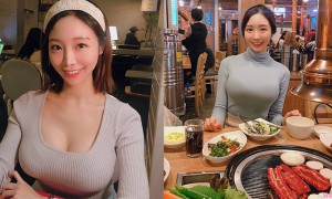 韩国正妹吃货,诱惑人心的不是美食而是饱满上围