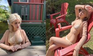 超正金发正妹度假美拍,穿比基尼晒太阳身材超火辣