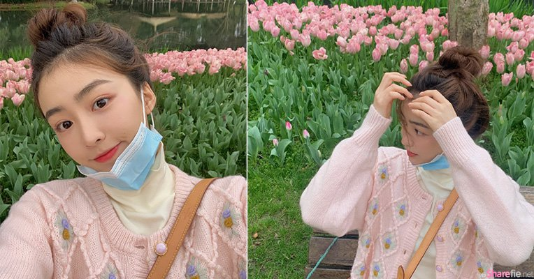 女神77花园拍照,绝美脸蛋比花还美