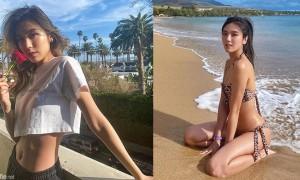 阳光沙滩正妹穿上豹纹比基尼,古铜美肌展现绝美曲线