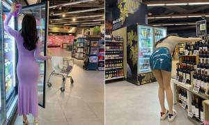 超市遇翘臀美腿正妹,一转身透视紧身网友瞬间ininder