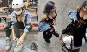 正妹性感运动内衣到小巨蛋滑冰,网友:遇见大巨蛋