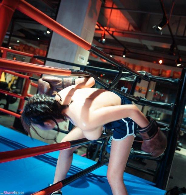 正妹「无罩」打拳,gif图让网友受不了:我想要打拳