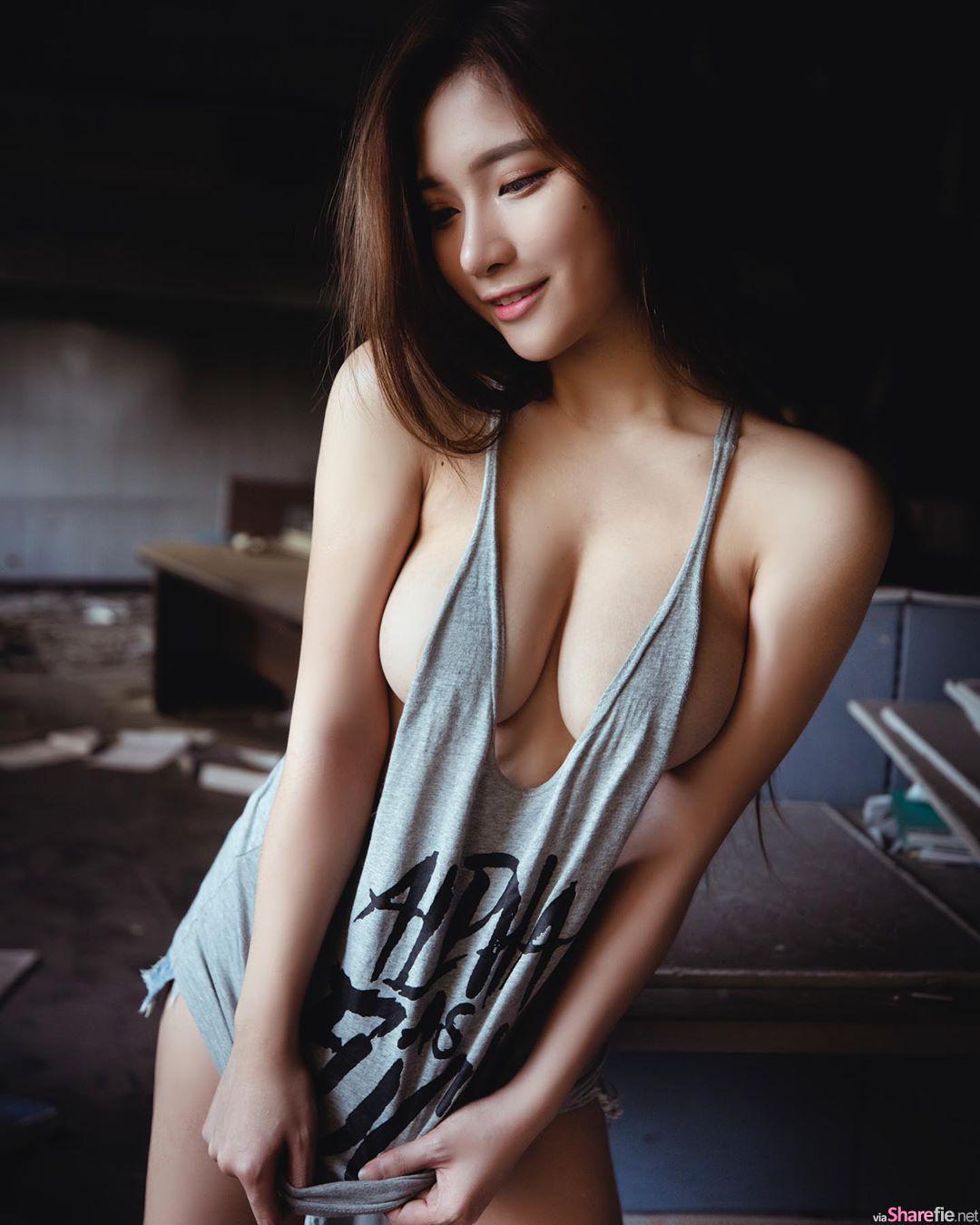 D奶正妹Miller米乐性感吊带裤露出刺青,网友:有刺青吗?