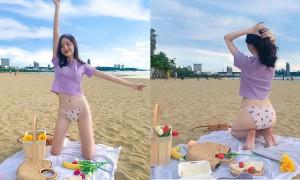 甜美正妹沙滩野餐,比基尼白皙身材超仙